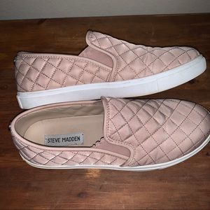 Steve Madden Blush Quilted Slip On Sneakers